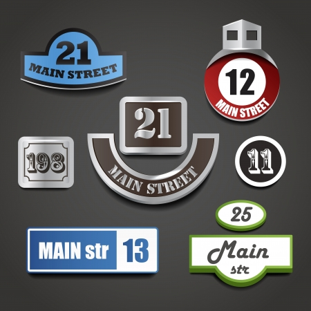House address plates collection Vector