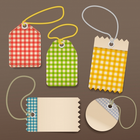 checkered shopping tags with rope Vector