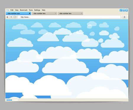 Opened browser window template with clouds Vector