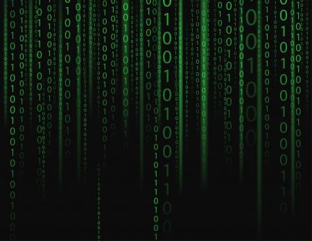 kódování: Stream na binární kódy na černém pozadí