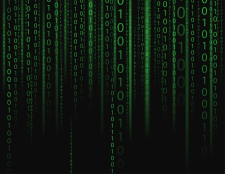 binary matrix: Stream on binary codes on black background