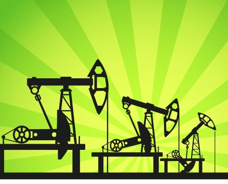 Oil units at work in perspective  Illustration Stock Vector - 14608933