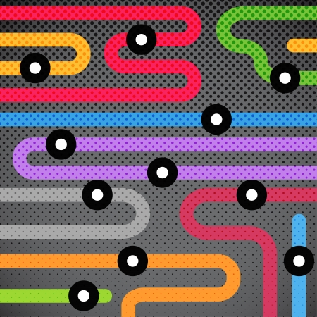 Abstract background of color metro lines with arrows  Vector