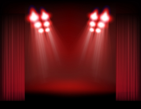 spotlight background: Bright stage with spot lights, smoke and curtains  Template for a content