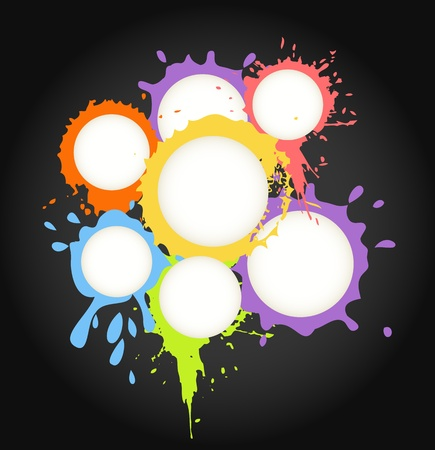 Color ink blots speech clouds abstract background Vector
