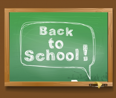 School desk with the message in a speech cloud  Back to school Vector