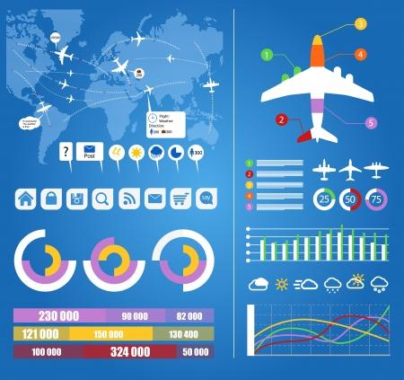 trajectoire: Infographie vols civils trajectoires des avions sur la carte du monde avec des notes