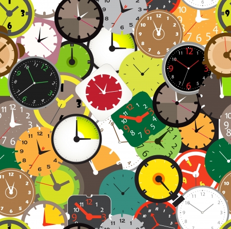 Seamless pattern of different clocks  Vector