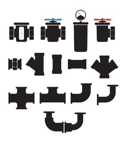 valve: Water supply system elements vector collection  Isolated on white Illustration