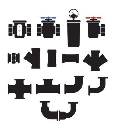 Waterleidingnet elementen vector collectie geà ¯ soleerd op wit
