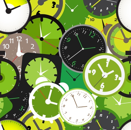 bell ringer: Seamless pattern of different clocks