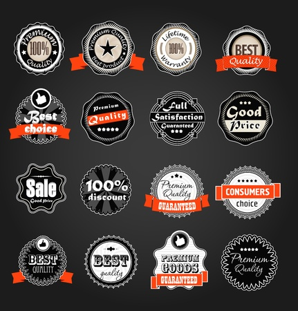 lifetime: Shopping labels collection  Premium quality, Satisfaction etc on black Illustration