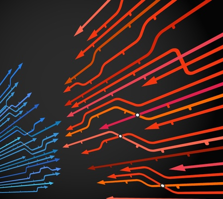Abstract background of metro lines with arrows on black Vector