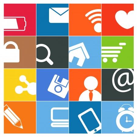 interaccion social: Moderno Color social media botones de interfaz Vectores