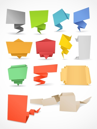 your text here: Colorful polygonal origami banners set  Place your text here