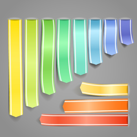Color satin decorative advertising ribbons set Vector