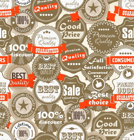 lifetime: Seamless background of shopping Premium quality labels  Illustration