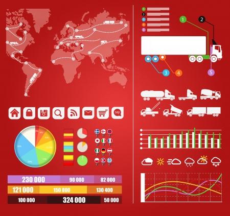 trajectoire: Camions infographies Cargo trajectoires sur la carte du monde