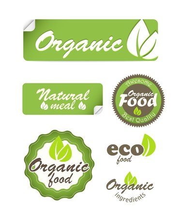 ecology emblem: Eco food stickers isolated on white