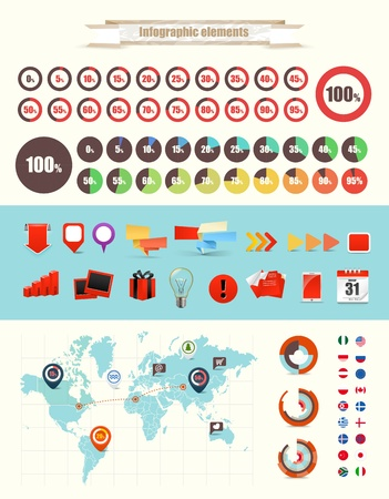 piechart: Infographic elements vector collection Illustration