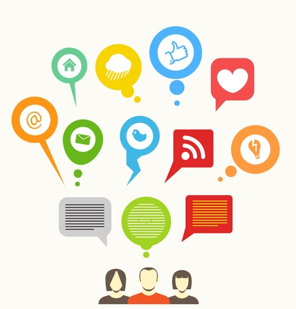 social networks: Social media network abstract speech bubbles Illustration