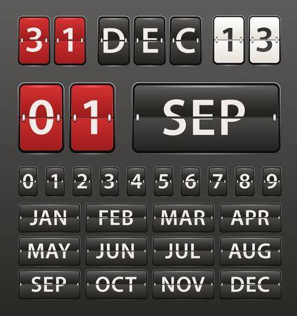 calendario escolar: Diario de pl�stico con los d�gitos establecidos Vectores