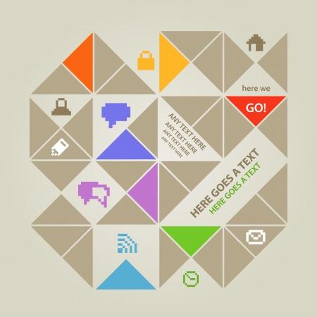 Màu sắc hiện đại truyền thông xã hội mẫu nội dung với các biểu tượng Hình minh hoạ