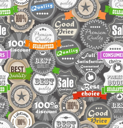 Seamless background of shopping quality labels  Stock Vector - 15118444