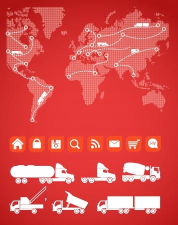 trajectoire: Cargo carte avec les sillhouettes de camions