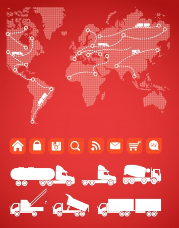 Cargo map with the sillhouettes of trucks Vector