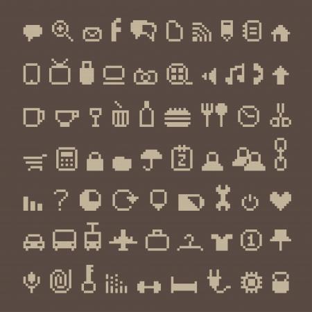Icon Pixel trên nâu Hình minh hoạ