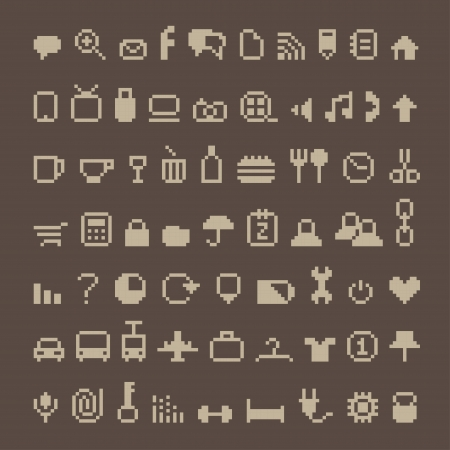 Pixel icons on brown Vector