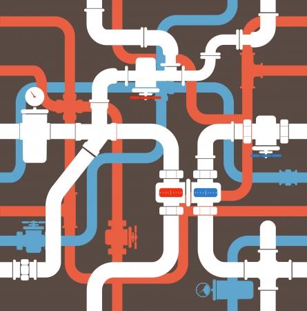 ventile: Nahtlose Hintergrund der Wasserleitung Illustration