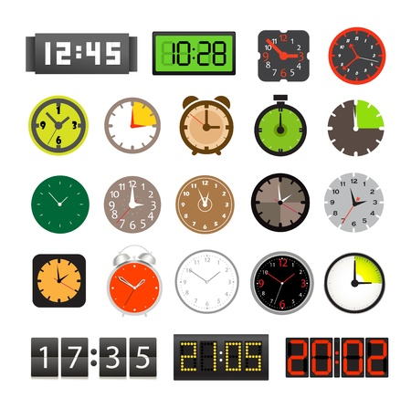 digital indicator: Different clocks collection isolated on white Illustration