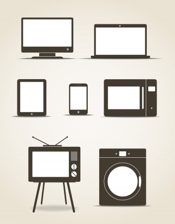 mobile device: Abstract style modern gadgets and kitchen technics