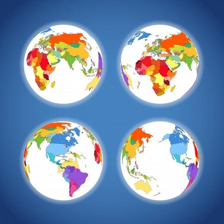south east asia: Terra mappa sistema di raccolta colorato Vettoriali