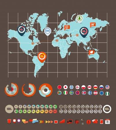 bandiere del mondo: Infografica elementi vettoriali raccolta