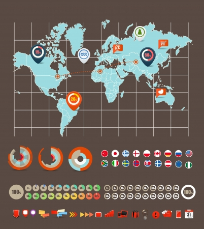 world map countries: Infographic elements vector collection Illustration