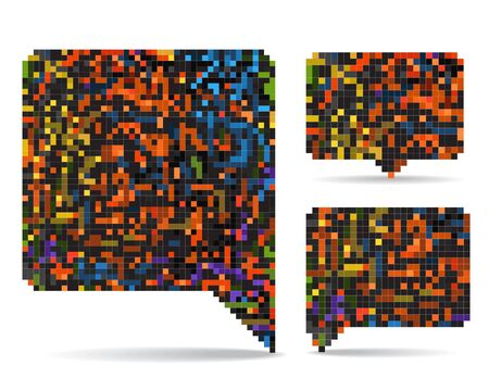 Abstract speech clouds collection of color mosaic elements Stock Vector - 15248688