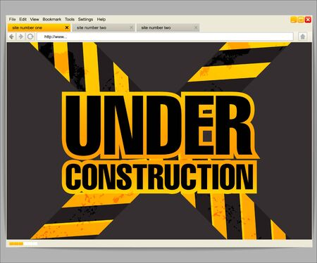Under construction site template in a browser window Stock Vector - 15314955