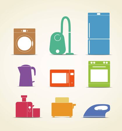 vacuum cleaner: Abstract style home and kitchen equipment icons