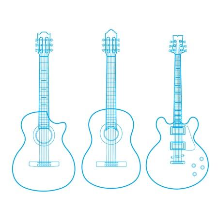 guitarra acustica: siluetas de guitarras clásicas aisladas en blanco,