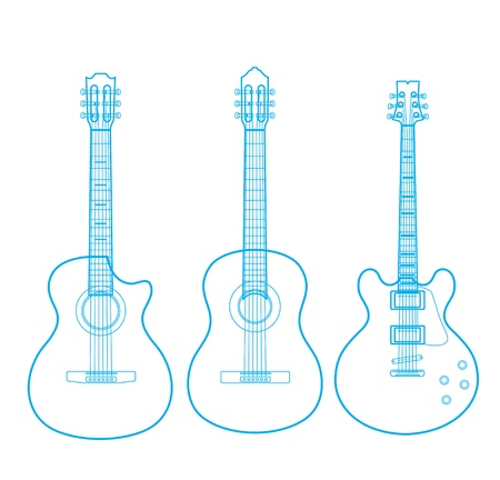 gitara: sylwetki klasycznych gitar na białym,