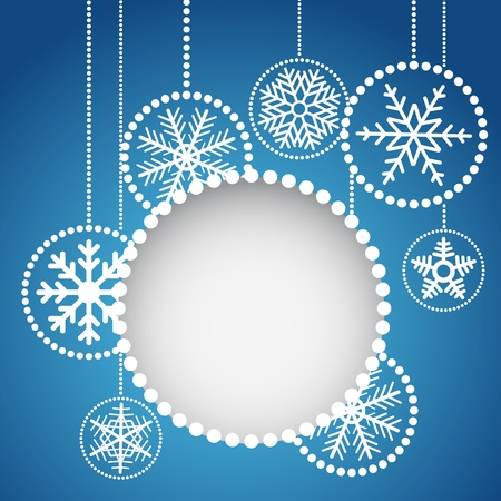 Abstract christmas balls with ornament of snowflakes Vector