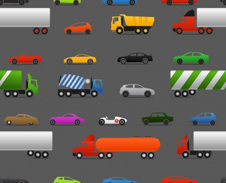 baclground: Modern and vintage cars and trucks seamless baclground  Illustration