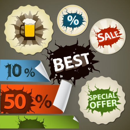Discount shopping tags set with cracks Stock Vector - 15520127