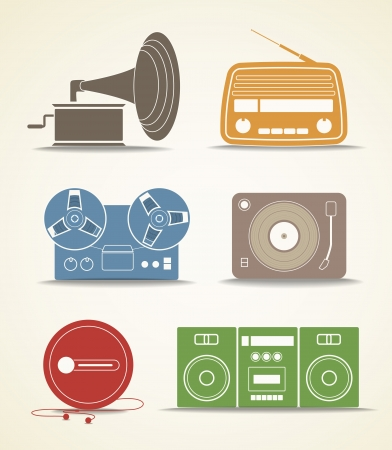 stuffs: Digital and analogue music players icons Illustration