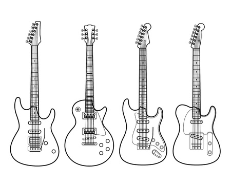fender: Silhouettes of electric guitars isolated on white