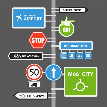 Different road signs on column illustration collection Vector