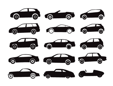 sedan: Modern and vintage cars silhouettes collection Illustration